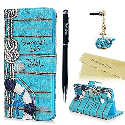 Mavis's Diary P10 Lite Case ,Huawei P10 Lite Case - Wallet Case PU Leather Flip Cover Shockproof Folio Bumper Case with Inner Soft Rubber Silicone Back Holder Magnetic Closure ID / Card Slots Stand Stylish Prints Protective Case - with Dust Plug & Stylus - Summer Sea Travel
