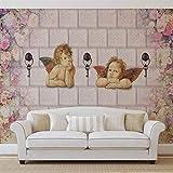 Muster Wand Blumen Engel Schlüssel - Wallsticker Warehouse - Fototapete - Tapete - Fotomural - Mural Wandbild - (3472WM) - XXXL - 416cm x 254cm - VLIES (EasyInstall) - 4 Pieces