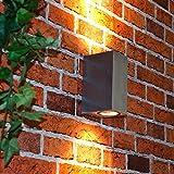Moderne Wandleuchte in silber inkl. 2 x 3,2W GU10 LED 230V Wandlampe aus Aluminiumdruckguss für Garten/Terrasse Garten Weg Terrasse Lampe Leuchten Beleuchtung außen
