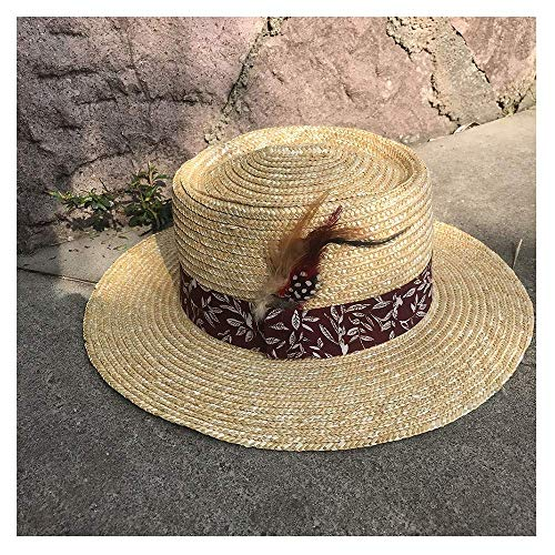 Sommer Stroh Boater Sonnenhut klassischer Hut Sonnenhut Stroh Sommer Herren Strohhut Panama breites Tuch dekorative Feder Damen Sonnenhut für Frauen Damen Mädchen (Farbe: 6, Größe: 56-58CM) (Herren-stroh-boater Hut)