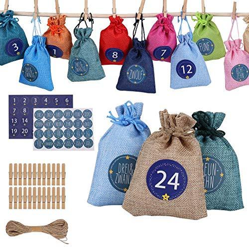 Ulikey 24 Calendario dell'avvento, Sacchetti di Tessuto Calendario dell'avvento da Riempire, Calendario Dell'avvento 2019 con 24 Adesivi per Calendario Dell'Avvento da Riempire