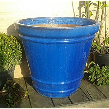 solide pot de fleurs bleu env 46 cm diam tre grand mod le. Black Bedroom Furniture Sets. Home Design Ideas