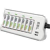 EBL 8PCS Piles Rechargeables AA 2800mAh+ Chargeur de Piles 8 Slots, avec 2 USB Ports pour Accus AA/AAA/Ni-CD/Ni-MH et…