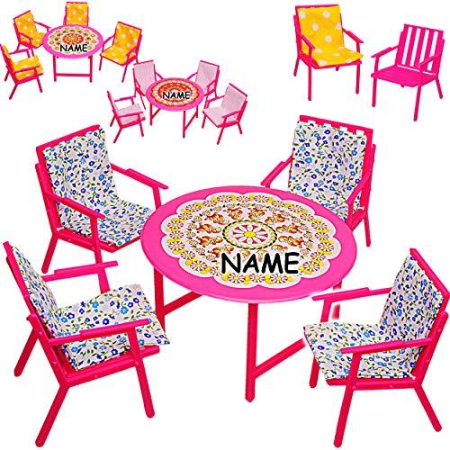 alles-meine.de GmbH Set: Miniatur - Gartenmöbel - 4 Stühle + Tisch + Stuhlauflagen - inkl. Name -...