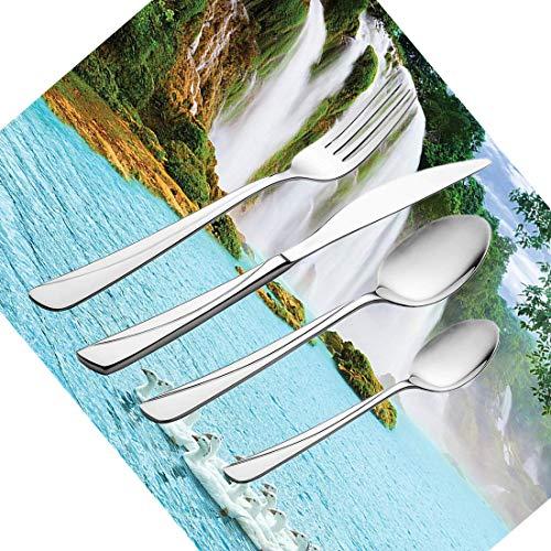 30-teiliges Besteckset, Geschirr aus natürlichem Wasserfall Besteckset aus Edelstahl für 6 Personen, einschließlich Messer, Gabeln, Löffel, Teelöffel und Tischset, Bild eines großen Wasserfalls mit S
