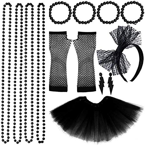 * NEW * Madonna 80s Style Black Tulle Skirt with Accessories. ELasticated Waist, 4 Colours Available