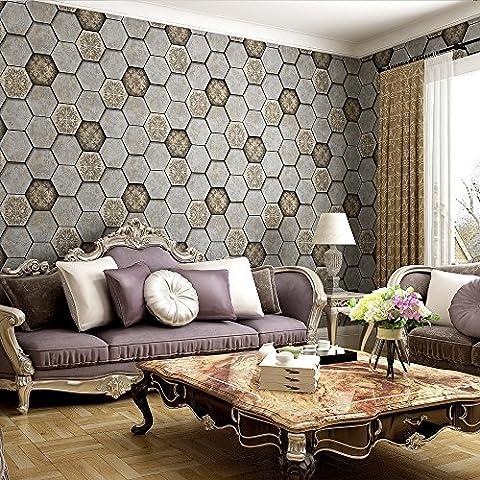 Style vintage hexagonale Brique Nid d'abeille Motif feuille d'acanthe en relief papier peint–33'(10m), rouleau complet, marron