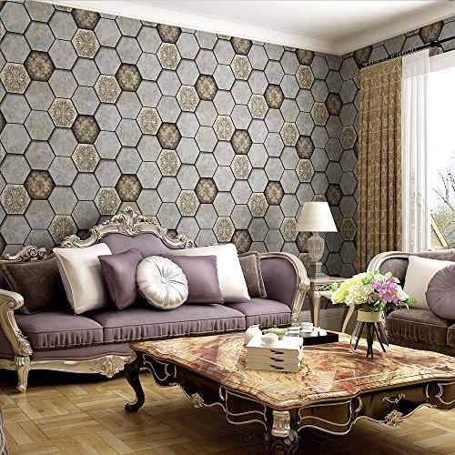 Designer Style Wall Plate (Vintage Style Sechseck Brick Honeycomb Design Akanthus Blatt 3D geprägte Tapete–33'(10Mio.), Rolle, die ganz, braun)
