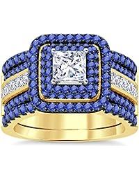 Silvernshine Enhancer Ring Guard & Engagement Ring Set Yellow Gold Plated Tanzanite Sim Diamonds