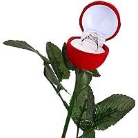Felly Boite de Bague Rose Rouge - 1 Pièce Boite Fleur Rose Alliance Cadeau Bijoux pour Mariage