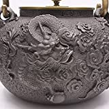 Tetera de hierro fundido Tetsubin japonés fundido olla Tetera eléctrica para té café cloud-dragon cobre tapa sobre 40oz/1.2L