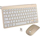 KuWFi Portable Mini 2.4GHz one set Wireless Keyboard and Mouse Combo Kit for Desktop Laptop Use (Gold)