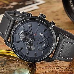 CURREN Men Watch Quartz Watch with Date Calendar PU Leather Casual Waterproof Wristwatch Black/Grey