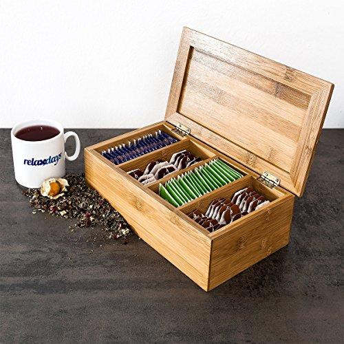 Relaxdays Teebox HBT: 9 x 28,5 x 16 cm Teekiste aus Bambus mit aufklappbarem Deckel Teedose mit 4 Fächern für circa 80 Teebeutel als Teebeutelbox und Schmuckkästchen aus Holz kein Aromaverlust, natur - 2