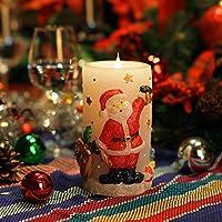 Candele Luci di Natale, Babbo Natale Shaped senza fiamma della candela del LED, 3D in movimento Fiamma Wick, cera reale, batteria, timer, bianco, 3x6 pollici (7.6x15.2cm)(Babbo