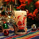 Candele Luci di Natale, Babbo Natale Shaped senza fiamma della candela del LED, 3D in movimento Fiamma Wick, cera reale, batteria, timer, bianco, 3x6 pollici (7.6x15.2cm)(Babbo Natale1)