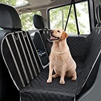 Dog Car Seat Covers, Rear Car Seat Cover for Dogs with Mesh Viewing Window/Side Flaps Dog Hammock, Waterproof Heavy Duty Travel Hammock Bench Convertible Backseat, Non Slip Pet Seat Protector for Cars Trucks & SUVs, 145 x 136 cm Black
