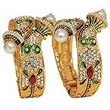 Mansiyaorange Traditional Fancy Designer Party Wedding Wear Original Hand Work Meena One Gram Gold Two Pearl Openable Bangle For Women