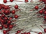 Perkopf- Decon. 4 mmØ x 40mm 150 Stück Perlen-Nadeln Deko-Nadeln Perle (rot)
