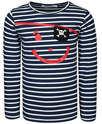 t Pirat, Gestreift in Dunkelblau/Weiß, Größe 116 (Piraten Shirt Kinder)