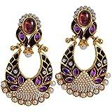 Maayra Classic Purple Kundan Drop Earrings best price on Amazon @ Rs. 1045
