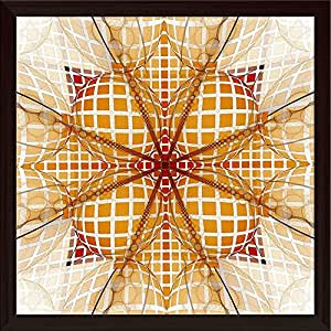 AZ Square Abstract Fractal Canvas Painting Dark Brown Wood Frame 24 x 24inch