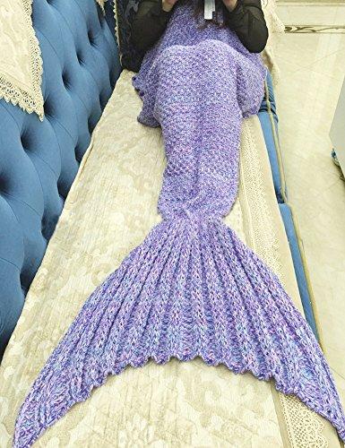 Meerjungfrau Decke Bay Sands Clover, handgemachte Mermaid Schwanz Stil Blanket Sofa Schlafdecke, Haushaltsartikel Schlafdecke, weiche Mermaid Schwanz Schlafsack für Kinder und Erwachsene 74.8 * 35.43 Zoll (Lila)