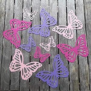 10 Schmetterlinge aus Fotokarton in Hellrosa Pink Lila als Wanddeko Deko für die Fenster oder als Tischdeko…