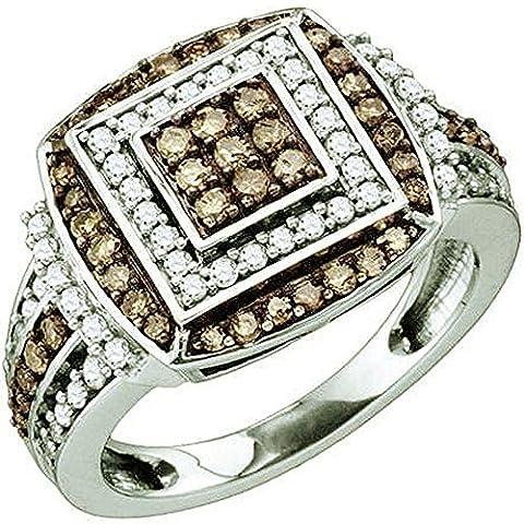 Bague Femme 1.00 ct 10 ct 471/1000 Or Blanc Rond Blanc & Cognac Diamants 1 ct