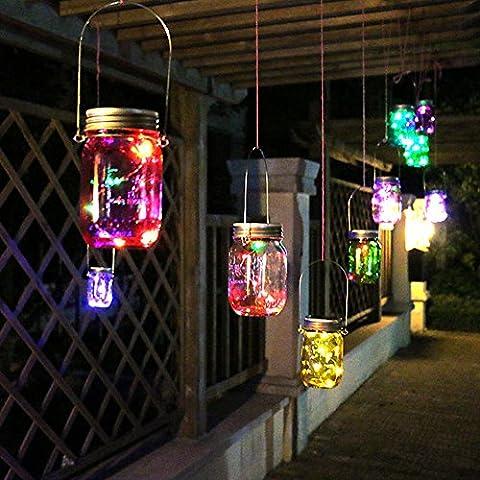 Mason Jar lumières solaires,Table de jardin LED à LED solaire extérieure Lumières suspendues de lanterne Lampes pour Patio Party Christmas Holiday Décorations de mariage,Pour toute l'année Outdoor Using(1Pcs,
