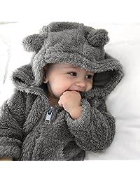 AIMEE7 Toddler Baby Boys Niñas con capucha de piel de mameluco Chaqueta de abrigo cálido Ropa de invierno linda gruesa