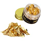 VGSEBA Edible Gold Leaf Flakes, 25mg 24K Gold Flakes Decorative Dishes, Genuine Gold Leaf for Cooking, Cakes & Chocolates, De