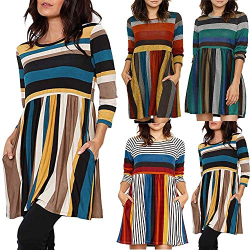 IZHH Damen Kleid Frauen Herbst Winter 2018 Langarm O Neck Mini Lässige Mode Kleid Abend Party Prom Dress Kostüm Kleid