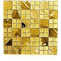 azulejos mosaico mosaico azulejos de cristal brillante oro baño o cocina 8mm Nuevo # 608