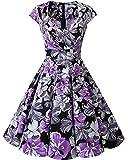 bbonlinedress Women's 50s 60s A Line Rockabilly Dress Cap Sleeve Floral Vintage Swing Party Dress Black Purple Flower S