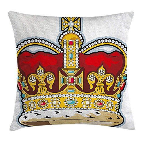 Throw Pillow Cushion Cover, Medieval British Crown with Middle Age Inspired Stones and Forms Art Print, Decorative Square Accent Pillow Case, 18 X 18 Inches, Ruby Earth Yellow Kings Crown Ruby