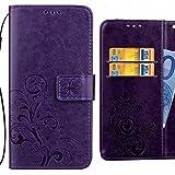 Handyhülle Huawei Ascend G6 Hülle, Ougger Glückliches Blatt Tasche Leder Schutzhülle Bumper Schale Weich Tasche Magnet Silikon Beutel Flip Cover mit Kartenslot (Lila)