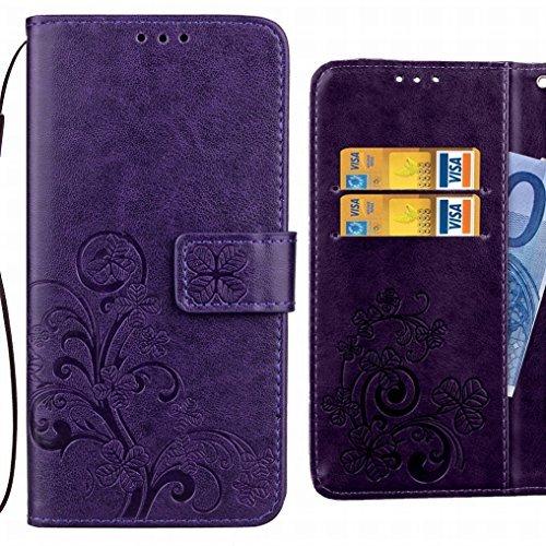 Ougger Handyhülle für HTC U Ultra/HTC Ocean Note Hülle, Glückliches Blatt Tasche Leder Schutzhülle Bumper Schale Weich Tasche Magnet Silikon Beutel Flip Cover mit Kartenslot (Lila) - Ocean Blatt