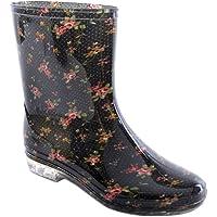 Ladies Short Floral / Flower Print Wellies Wellington Boots