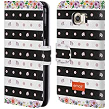 Official Emoji Stripes And Dots Unicorns Leather Book Wallet Case Cover For Samsung Galaxy S6