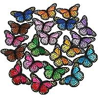 TRIXES 12 x Remiendos para Coser o Planchar Sobre Tela Mariposas en Colores Surtidos para Prendas y Bolsos