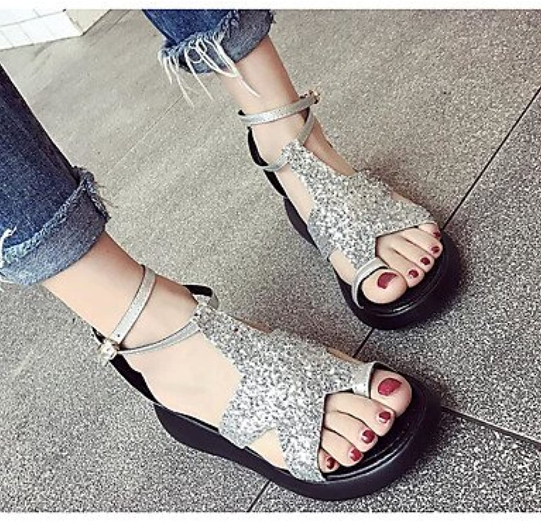 Las mujeres 039 s sandalias verano PU Confort confort informal plata negro 2A-2 3 4inSilverUS5 UE35 UK3 CN34