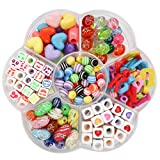 TOAOB 210 Stück Bunte Perlen Anhänger Perlen Spacer Perlen für Loom Bänder Armbänder Gummibänder Bänder Starter Set Basteln DIY Zubehör