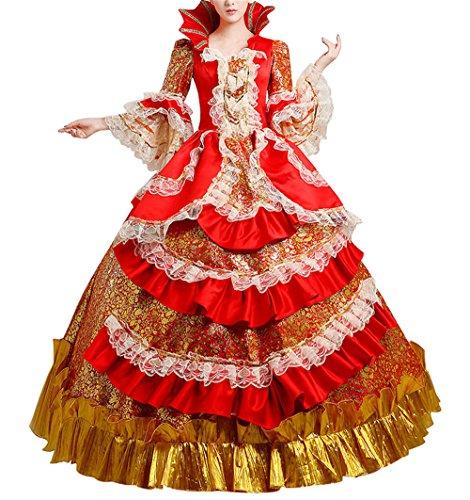 Nuoqi®Damen Satin Gothic Victorian Prinzessin Kleid Halloween Fancy Dress Cosplay Kostüm Party Maxi Kleid (38, (Halloween Kostüm Kleid Rotes)