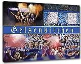 Ultras Schalke, Bild auf Leinwand XL , fertig gerahmt, 80 x