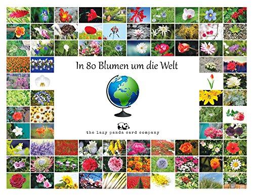 Cartoline fiori: in 80fiori intorno al mondo- biglietti di saluto nazioni/fiori, una cartolina per ogni paese, 80diverse cartoline con fiori ufficiali per nazione.