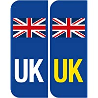 Pair of Road Legal UK United Kingdom Symbol Car REFLECTIVE Vinyl Sticker Number Plate Decal for European Roads after…
