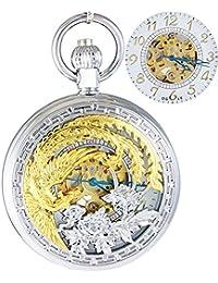Ogle impermeable oro Phoenix colgante collar cadena llavero color blanco self bobinado automático esqueleto mecánico reloj de bolsillo