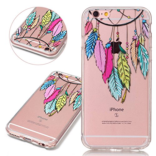 Custodia iPhone 6 Plus 6S Plus, ISAKEN Cover per Apple iPhone 6 Plus 5.5 [TPU Shock-Absorption] - Glitter Farfalle Design Custodia Case Ultra Sottile TPU Morbido Protettiva Cassa Bumper - Glitter Far dreamcatcher colorate