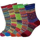 Yantu Damensocken Baumwolle frei komfortable Sportsocken Animal Cartoon Streifen Socken Prints Socks, 5 Paare Mehrfarbig (bunt)